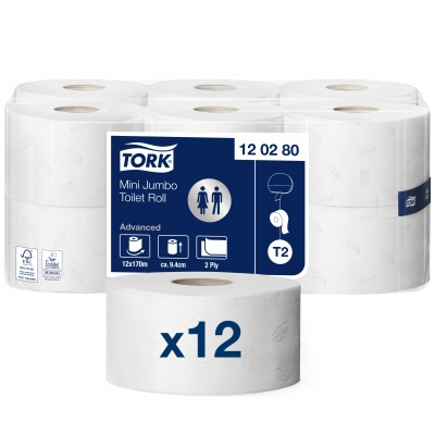 Tualetinis popierius rulonais Tork Advanced Mini Jumbo  T2, 2sl.